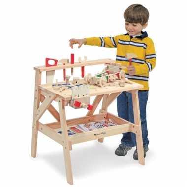Houten kinder werkbank met gereedschap