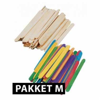 Houten knutsel stokjes pakket middel