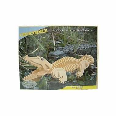 Houten krokodil beest bouwpakket