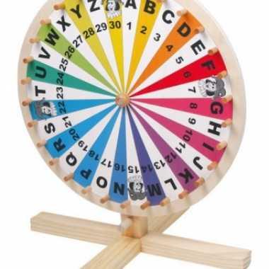 Houten loterijspelletjes rad 34 cm