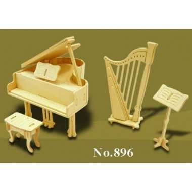 Houten muziekinstrumenten voor poppenhuis