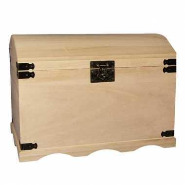 Houten opberg kist onbehandeld 44,8 cm
