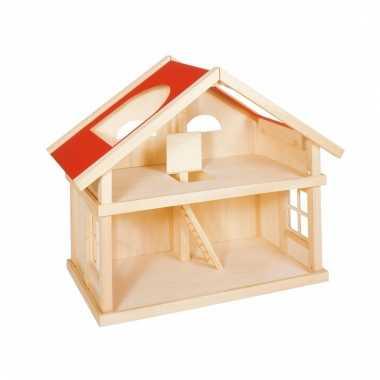 Houten poppenhuisje met 1 verdieping