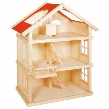 Houten poppenhuisje met 2 verdiepingen