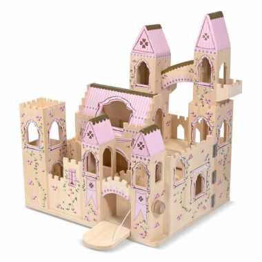 Houten speel kasteel roze