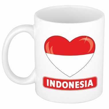 Indonesische vlag hart mok / beker 300 ml