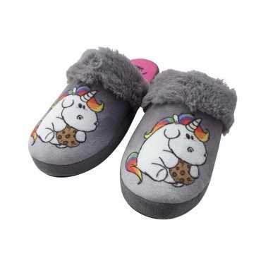 Instap pantoffel eenhoorn/pummeleinhorn grijs dames mt 36-37