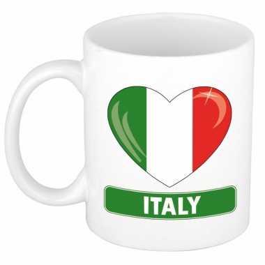 Italiaanse vlag hart mok / beker 300 ml