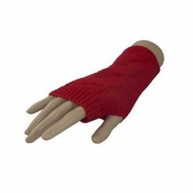 Kabelpatroon gebreide vingerloze polsjes/handschoenen rood voor volwa