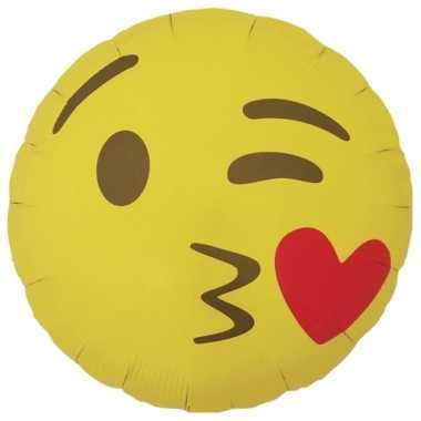 Kado ballon hart kusje emoticon 46 cm
