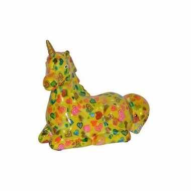Kado spaarpot gele eenhoorn met hartjes print 17 cm