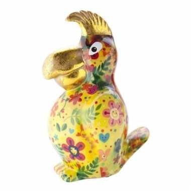 Kado spaarpot gele papegaai met bloemen print 22 cm
