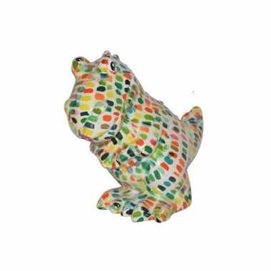Kado spaarpot witte dinosaurus met stipjes print 17 cm