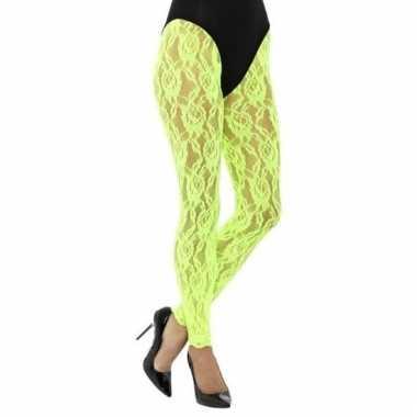 Kanten panty neon groen voor dames