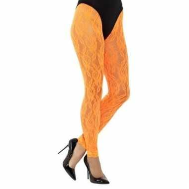 Kanten panty neon oranje voor dames