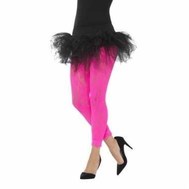 Kanten panty neon roze voor dames