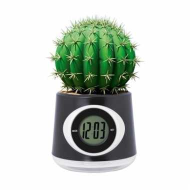 Kantoor gadget zwarte bloempot/klok 11 cm