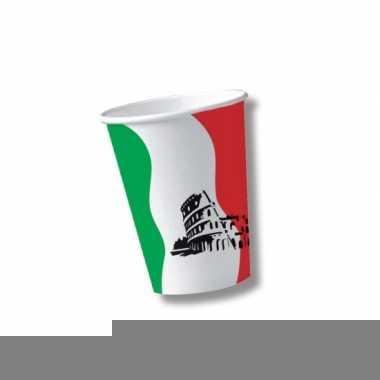Kartonnen bekers met vlag van italie 10x