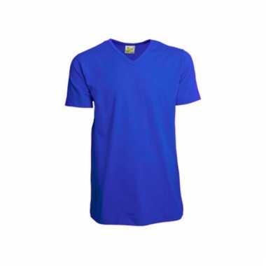 Katoenen lemon soda heren kobalt v hals shirt