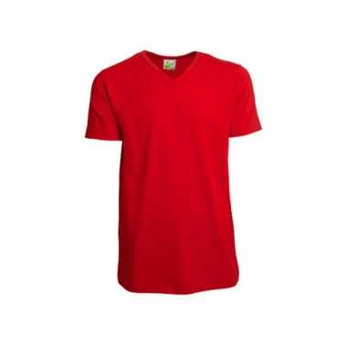 Katoenen lemon soda heren rood v hals shirt