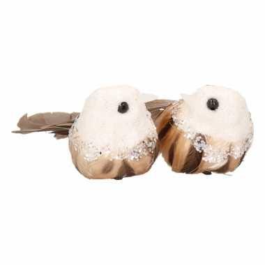 Kerst clip vogels wit/bruin 2 stuks