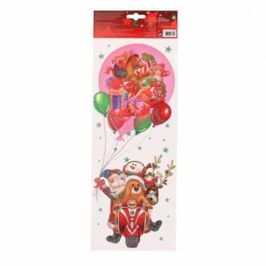 Kerst decoratie raamsticker kerstman op scooter 42 cm