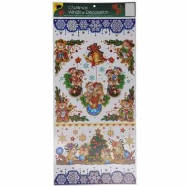 Kerst decoratie raamstickers met glitters type 2