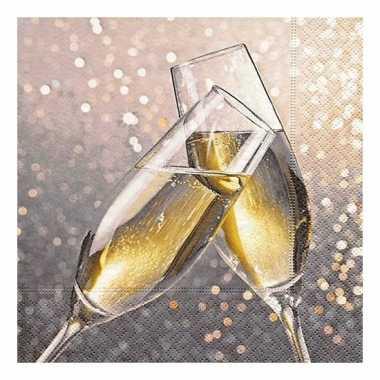 Kerst servetten met champagne glazen