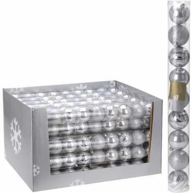 Kerstbal pakket zilver 6 cm