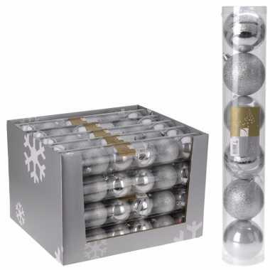 Kerstbal pakket zilver 7 cm