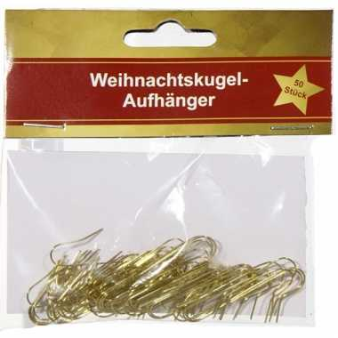 Kerstbalhaken 50 stuks goud