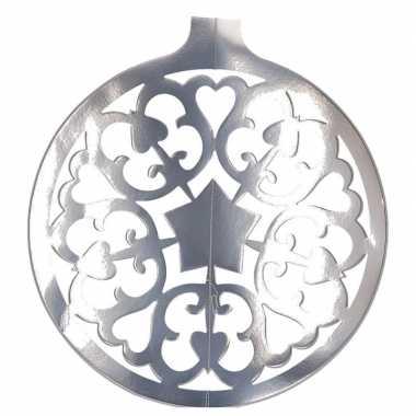Kerstballen hangdecoratie zilver 49 cm