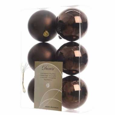 Kerstballen pakket mat bruin 8 cm