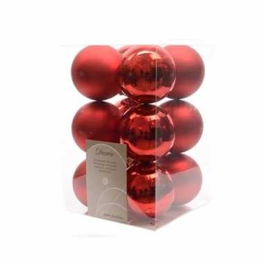 Kerstballen pakket mat rood 6 cm