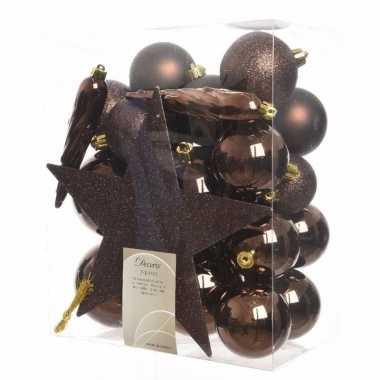 Kerstballen pakket met piek bruin