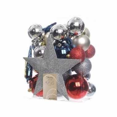 Kerstballen pakket met piek rood/zilver/blauw