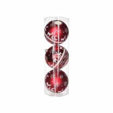 Kerstballen rood met print 3 stuks 15 cm