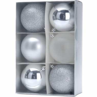Kerstballenset zilver 3 soorten 8 cm