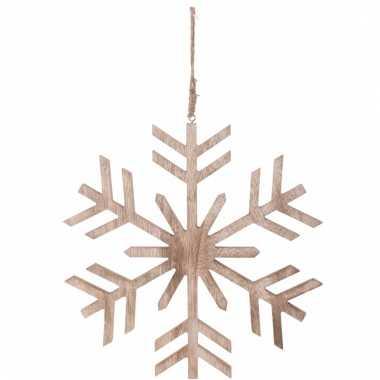 Kerstboom decoratie bruin/houten sneeuwvlok hanger 30 cm