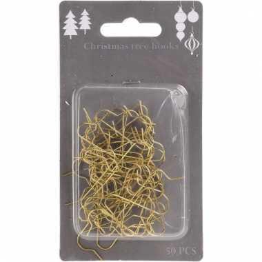 Kerstboom decoratie kerstbalhaakjes goud 50 stuks