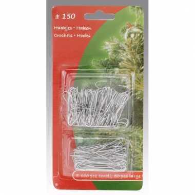 Kerstboom decoratie kerstbalhaakjes zilver 150 stuks