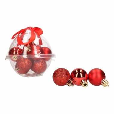 Kerstboom decoratie mini kerstballetjes 3 cm 12 x classic red