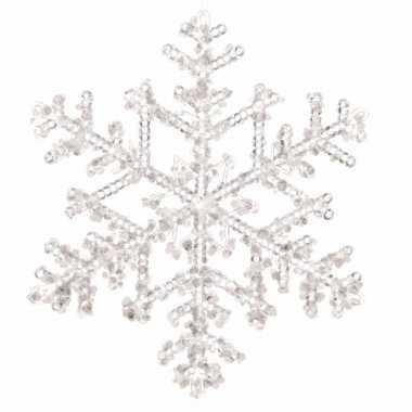 Kerstboom hangertje heldere sneeuwvlok 18 cm