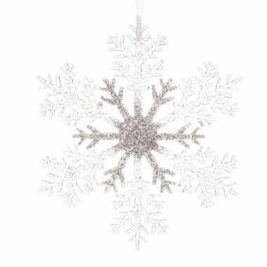 Kerstboom hangertje zilveren sneeuwvlok 21 cm