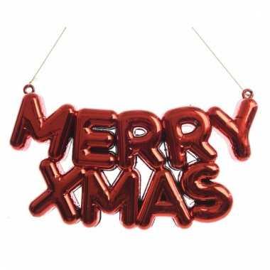 Kerstboom hangertjes rode merry xmas tekst 20 cm