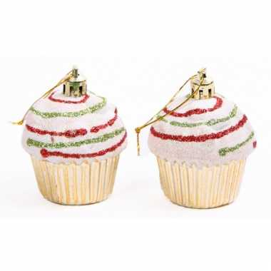 Kerstboomhangers cupcake goud 2 stuks