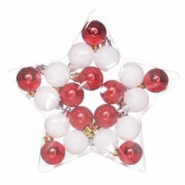 Kerstboomversiering mix ballen rood/wit 20 stuks onbreekbaar