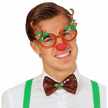 Kerstbril rendier met rode neus