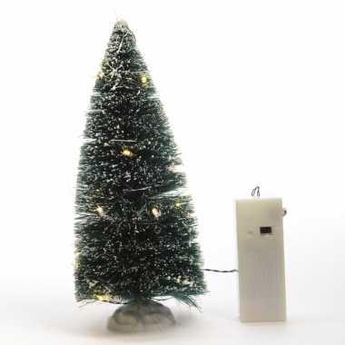 Kerstdecoratie besneeuwde dennenboom met led verlichting 22 cm