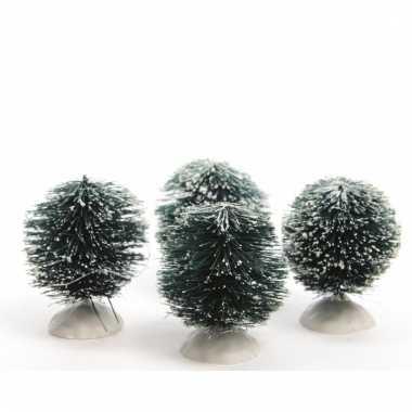 Kerstdecoratie besneeuwde kerststruiken 4 stuks groen 6 cm